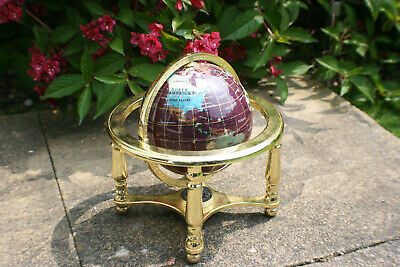 Semi-precious Stone World Globe on Brass Stand with Compass