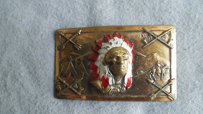 "Vintage 3.125"" Brass Toned Belt Buckle w/Painted Indian Chief Bust, Scene (60g)"