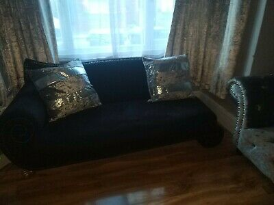Chenille black studded french chaise lounge sofa settee