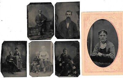 Antique Lot of 6 Misc. Tintype Images