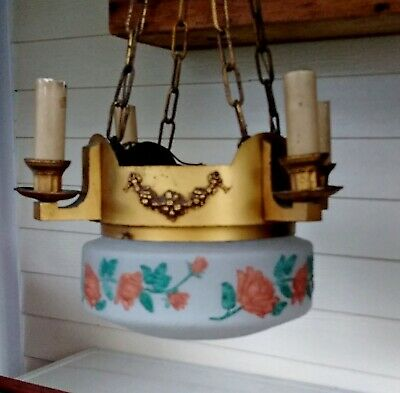 Antique Large Floral Glass Shade Light Fixture 4 Side Candles Brass Parlor Light