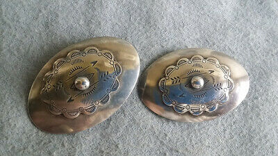 """Vintage Pair of 2"""" SW Native Silver Plate Earrings w/Tooled Decor, Arrows (20g)"""