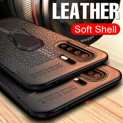 For Huawei P30 Pro P20 Mate 20 Lite Magnetic Finger Stand Leather Silicone Case