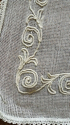 Antique Vintage 1920s Cotton Net Embroidered Lace Curtains 3of3 PAIR White