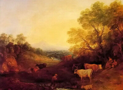 Dream-art Oil painting thomas gainsborough - landscape with cattle free shipping