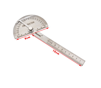 New Stainless Steel 180 Protractor Angle Finder Arm Measuring 100mmRuler