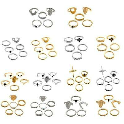 6Pcs Gold Silver Ring Set Above Knuckle stacking Band Midi Rings Boho Gift