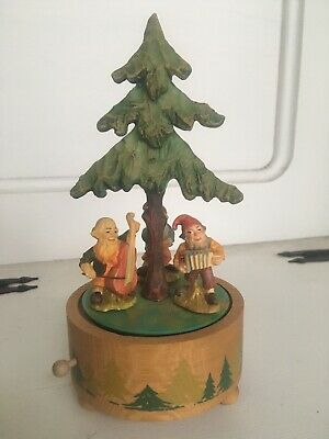 """Vintage ANRI Hand Crafted & Painted Wood Music Box Italy """" IT'S A SMALL WORLD"""""""