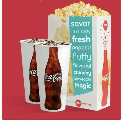 AMC Theaters 1 Large POPCORN & 2 Large DRINKS  5 Minute E-delivery!