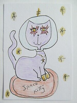 ACEO Original Watercolor Cat Purple Stars Space Kitty Signed by Artist MiloLee