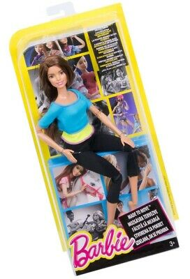 Barbie Made to Move Doll, Blue Top Brunette Poseable Yoga