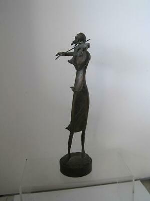 Vintage Solid Bronze Sculpture Statue woman playing violin Modern Abstract 1950