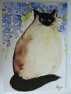 ACEO PRINT Cat Sealpoint Himalayan Kitty with Wisteria by Denise Every USA COA