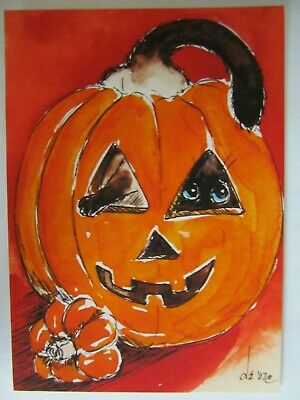 ACEO PRINT Cat Siamese Himalayan Stuck in a Pumpkin Halloween Denise Every COA