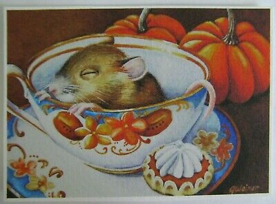 ACEO Limited Edition PRINT Mouse Too Tuckered for Tea 10 of 40 J Weiner 2015