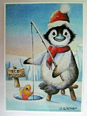 ACEO Limited Edition PRINT Ice Fishing Penguin Halfpint 17 of 24 J Weiner 2012