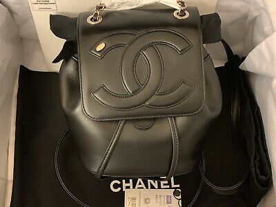 35f28bb53ccc51 2019 CHANEL Mania Spring Summer Collection Black Lambskin Backpack (NEW W/  TAGS)