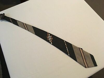VINTAGE RETRO 70's REMBRANT MENS BROWNS STRIPES NECK TIE  NEW WITH TICKET
