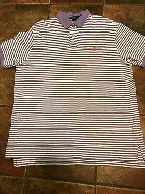 POLO RALPH LAUREN CUSTOM FIT STRIPE POLO Purple And White XXL