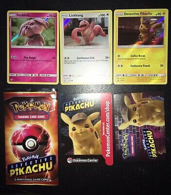 Pokemon Trading Cards Detective Pikachu, Lickitung, Snubbull Movie Opening Night