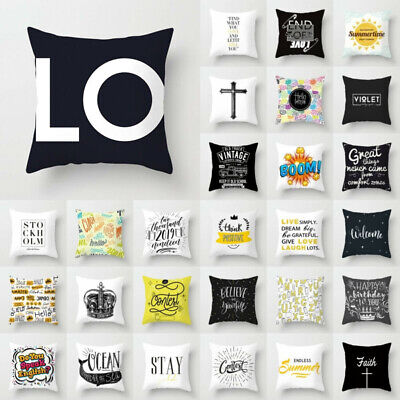 Black White Letter Polyester Pillow Case Throw Cushion Cover Home Decor 18''