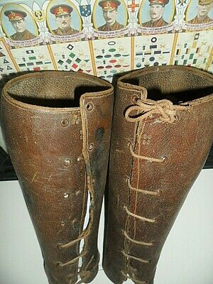 old pair Australian Horsemans Gaiters 2 WW1 iDs Leather Lace up has all rivets