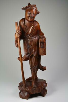 1920's Antique Hand Carved Chinese Japanese Man Laughing Asian Art Wood & Bone