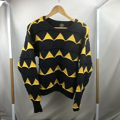 Vintage Cuggi (Coogi) Sweater Jumper Size Med 100% Wool Triangle Yellow Purple
