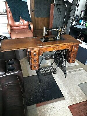 1900's Vintage Singer Original Treadle Sewing Table With Sewing Machine