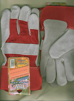 Rugged Wear Women's Suede Cowhide Work/Utility/Farming Wrist Glove, Cloth Lined