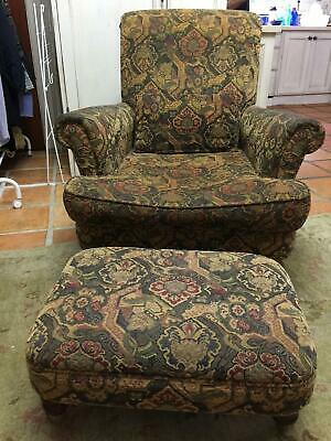 Beautiful Armchair & Ottoman Antique style by DF Design Furniture (2 available)