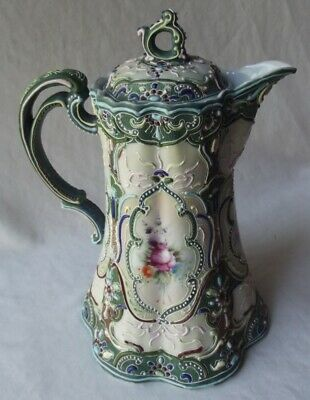 Amazing Antique Japanese Nippon Hand Decorated W/ Heavy Moriage Teapot-Unmarked