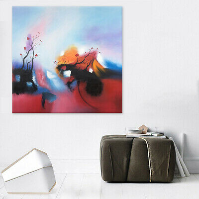 Hand Paint Modern Abstract Oil Painting Canvas Drawing With Frame Plum Flower
