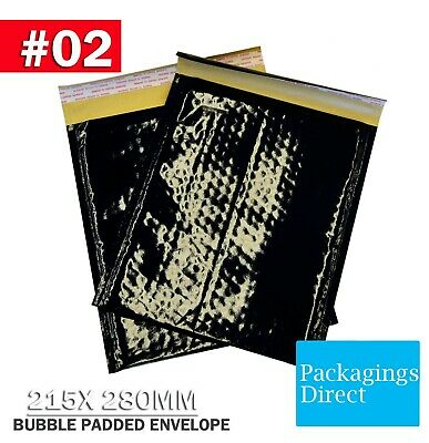 100x Bubble Mailer #02 - Black Glossy 215X280MM Padded Bag Cushioned Envelope