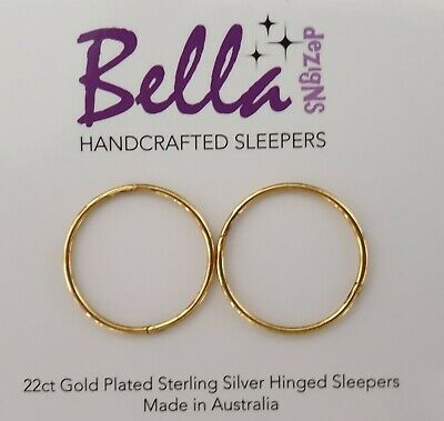 18mm XLGE 22ct Gold Plated on Solid Sterling Silver Sleeper Earrings PLAIN ONLY