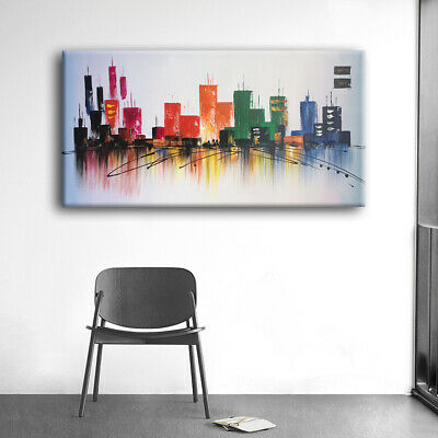 Hand Painted Oil Painting Stretched Canvas Wall Decor With Frame Multicolor City