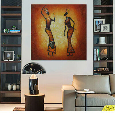 Modern Abstract Handmade Oil Painting Wall Art Canvas Framed Dancers 77*77cm