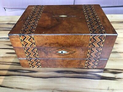 ANTIQUE Victorian Walnut Timber MARQUETRY Wooden Inlaid Writing Box