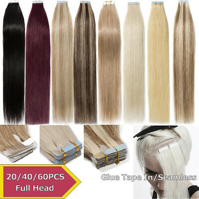 Tape In Human Hair Extensions Real Remy 20/40/60PCS Pure Mix Ombre Any Color AU