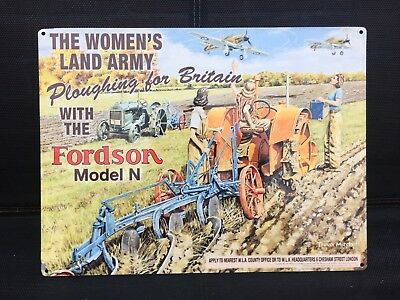 Womans Land Army Metal Sign Fordson Model N