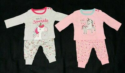Ex Store Baby Girls Pink Grey Unicorn Mix & Match 2 Pack Pyjamas 0 3 6 9 12 24