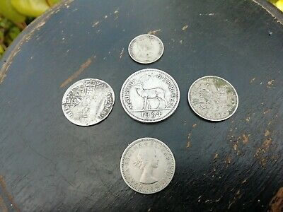 5x Antique Vintage Silver Coins British William III Sixpence 1697 Rupee...
