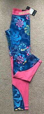 NIKE PRO tights GIRLS size L AGE 12-13 YRS printed BLUE PINK FLORAL bnwt