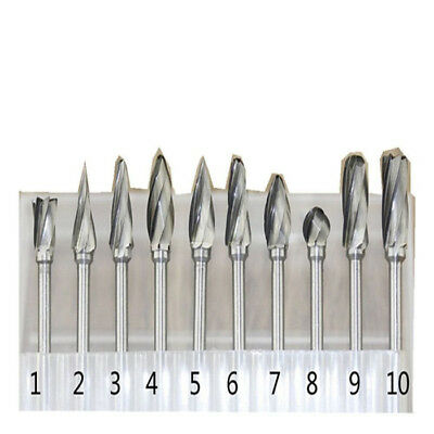 Rotary Burr Set Drill Dremel Tool Wood 3mm Shank Carbide Tungsten Bits Grinding