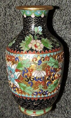 Oriental Cloisonne Vase Retro Blue Green Gold Black Traditional Beautiful 12.5cm