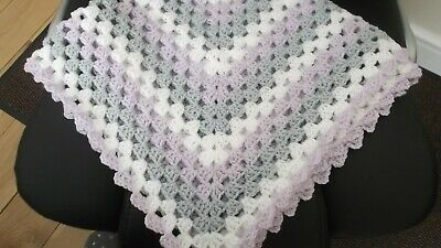 Handmade crochet baby blanket, WHITE, GREY AND LILAC