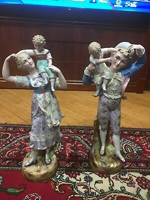 Antique French Jean Gille/Vion&Baury Pair Of Porcelain Figurines