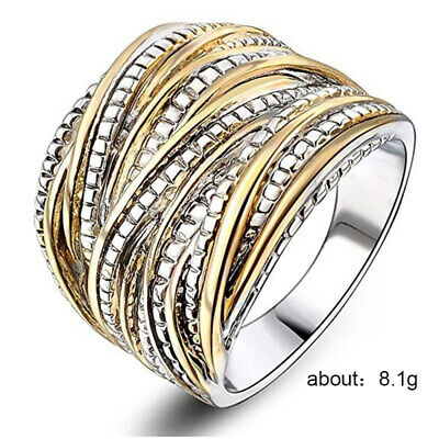 Punk 2-Tone Stainless Steel Ring Wide Band Men/Women's Fashion Jewelry Size 6-10