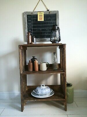 Rustic Wooden Tall Storage Unit Recycled Pallet and Wine Crate 1 shelf unit