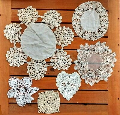 Vintage Crocheted White Ivory Dolies Lot Some Handmade Heart Wedding